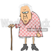 Royalty-Free Clip Art Illustration of a White Haired Granny With A Cane © Dennis Cox #1051554