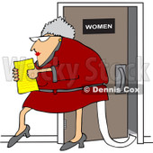 Royalty-Free Vector Clip Art Illustration of a Senior Office Woman Carrying A Document And Trailing Toilet Paper From The Restroom © Dennis Cox #1051557