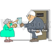 Royalty-Free Vector Clip Art Illustration of a Woman Instructing A Man On A Drug Test © djart #1051893