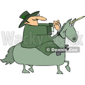 Royalty-Free Vector Clip Art Illustration of a Leprechaun Riding A Green Unicorn © Dennis Cox #1051896