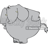 Royalty-Free Vector Clip Art Illustration of an Upset Elephant Standing With His Hands On His Hips © djart #1052109