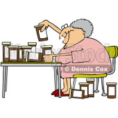 Royalty-Free Vector Clip Art Illustration of a Senior Woman Comparing Medications © djart #1052271