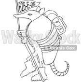 Royalty-Free (RF) Clipart Illustration of a Hiker Armadillo With A Flag  © Dennis Cox #1052326