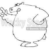 Royalty-Free Vector Clip Art Illustration of a Black And White Mad Bear Pointing Outline © djart #1052981