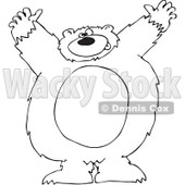 Royalty-Free Vector Clip Art Illustration of a Black And White Big Bear Attacking Outline © Dennis Cox #1052982