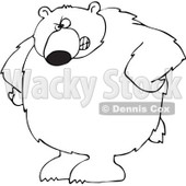 Royalty-Free Vector Clip Art Illustration of a Black And White Big Bear With His Hands On His Hips Outline © Dennis Cox #1052983