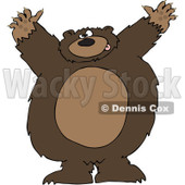 Royalty-Free Vector Clip Art Illustration of a Big Brown Bear Attacking © Dennis Cox #1052986