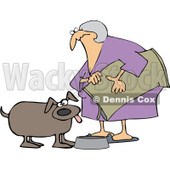 Royalty-Free Vector Clip Art Illustration of a Woman Pouring Dog Food Into A Dish © djart #1052988