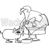 Royalty-Free Vector Clip Art Illustration of a Black And White Woman Pouring Dog Food Into A Dish Outline © djart #1052989