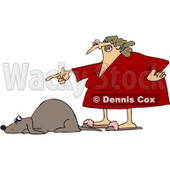 Royalty-Free Vector Clip Art Illustration of an Angry Woman Yelling At A Scared Dog © djart #1052994