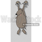 Royalty-Free Vector Clip Art Illustration of a Prisoner Dog Hanging On A Wall © Dennis Cox #1052995