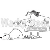 Royalty-Free Vector Clip Art Illustration of a Black And White Angry Woman Yelling At A Scared Dog Outline © djart #1052996