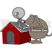 Royalty-Free Vector Clip Art Illustration of a Dog Attaching A Satellite To His House © Dennis Cox #1052997