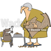 Royalty-Free Vector Clip Art Illustration of a Woman Feeding Her Hungry Dog At A Table © Dennis Cox #1052998