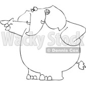 Royalty-Free Vector Clip Art Illustration of a Black And White Angry Elephant Pointing Outline © djart #1053001