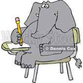 Royalty-Free Vector Clip Art Illustration of an Elephant Student © Dennis Cox #1053002
