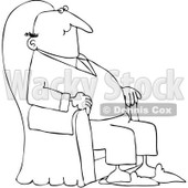 Royalty-Free Vector Clip Art Illustration of a Black And White Content Man Relaxing In An Armchair Outline © djart #1053004