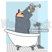 Royalty-Free Vector Clip Art Illustration of a Plumber Installing A Shower Head © Dennis Cox #1053008