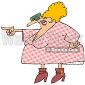 Royalty-Free Vector Clip Art Illustration of a Pointing Angry Woman In A Pink Floral Dress © djart #1053010
