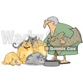 Royalty-Free Vector Clip Art Illustration of a Woman Feeding Her Hungry Fat Cats © djart #1053012
