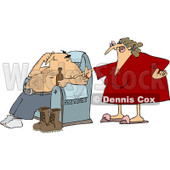 Royalty-Free Vector Clip Art Illustration of an Angry Wife Yelling At Her Husband As He Drinks A Beer © Dennis Cox #1053015