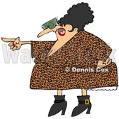 Royalty-Free Vector Clip Art Illustration of a Pointing Angry Woman In A Leopard Print Dress © djart #1053016