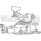 Royalty-Free Vector Clip Art Illustration of a Black And White Outline Of A Drunk Leprechaun © djart #1053629