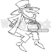 Royalty-Free Vector Clip Art Illustration of a Black And White Outline Of A Leprechaun With Gold © djart #1053630