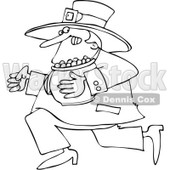 Royalty-Free Vector Clip Art Illustration of a Black And White Outline Of A Leprechaun Running With Gold © djart #1053631