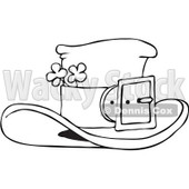 Royalty-Free Vector Clip Art Illustration of a Black And White Outline Of A Leprechaun Hat With Clovers © djart #1053634