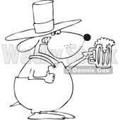 Royalty-Free Vector Clip Art Illustration of a Black And White Outline Of A St Patricks Day Dog Holding Beer © djart #1053635