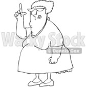 Royalty-Free Vector Clip Art Illustration of a Black And White Woman Pointing Up Outline © Dennis Cox #1054258