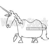 Royalty-Free Vector Clip Art Illustration of a Black And White Unicorn Outline © Dennis Cox #1054259