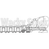 Royalty-Free Vector Clip Art Illustration of a Black And White Santa And Train Outline © djart #1054260