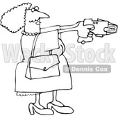 Royalty-Free Vector Clip Art Illustration of a Black And White Lady Using A Taser Outline © Dennis Cox #1054262