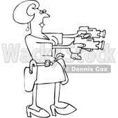Royalty-Free Vector Clip Art Illustration of a Black And White Woman Using Two Tasers Outline © djart #1054263