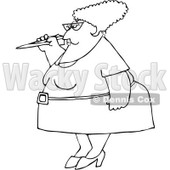 Royalty-Free Vector Clip Art Illustration of a Black And White Woman Throwing A Paper Plane Outline © Dennis Cox #1054264