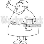 Royalty-Free Vector Clip Art Illustration of a Black And White Woman Holding A Thumb Up Outline © Dennis Cox #1054265