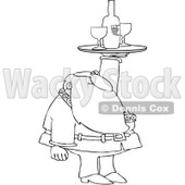 Royalty-Free Vector Clip Art Illustration of a Black And White Santa Serving Wine Outline © Dennis Cox #1054267
