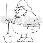 Royalty-Free Vector Clip Art Illustration of a Black And White Female Construction Worker Outline © Dennis Cox #1054269