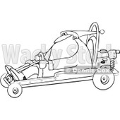 Royalty-Free Vector Clip Art Illustration of a Black And White Santa Driving A Go Kart Outline © djart #1054272
