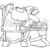 Royalty-Free Vector Clip Art Illustration of a Black And White Santa Checking His Watch Outline © djart #1054275