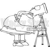 Royalty-Free Vector Clip Art Illustration of a Black And White Santa Using A Telescope Outline © djart #1054276