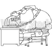 Royalty-Free Vector Clip Art Illustration of a Black And White Santa And Microscope Outline © Dennis Cox #1054277