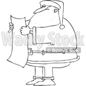 Royalty-Free Vector Clip Art Illustration of a Black And White Santa Reading A List Outline © djart #1054278