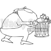 Royalty-Free Vector Clip Art Illustration of a Black And White Santa Taking Out Garbage Outline © djart #1054279