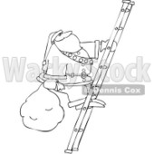 Royalty-Free Vector Clip Art Illustration of a Black And White Santa Climbing A Ladder Outline © djart #1054282