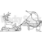 Royalty-Free Vector Clip Art Illustration of a Black And White Santa Pulling A Reindeer On A Sled Outline © djart #1054284