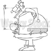Royalty-Free Vector Clip Art Illustration of a Black And White Santa Nailing A Sign Outline © Dennis Cox #1054288