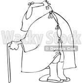 Royalty-Free Vector Clip Art Illustration of a Black And White Santa In Hospital Gown Outline © djart #1054296